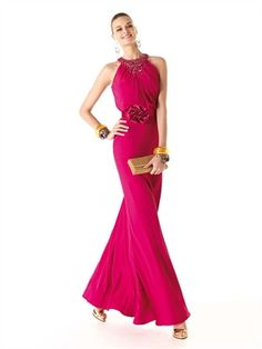 Strapless high neckless beaded red sash chiffon Prom Dresses PSP00236