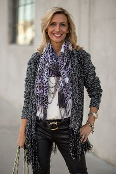 New blog story featuring our Black and white boucle cardigan with fringe and leopard and floral print scarf both available at www.jacketsociety.com