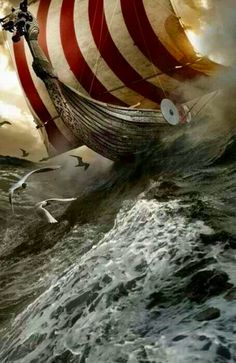 """Viking ship... The only wind powered vessels which did not plough through the waves, but  virtually """"skate"""" over them! Rather than stupid, cuthroat, pirates, as Hollywood, and """"historians"""", want us to believe, they were amongst the most sophisticated artisans, the world has ever seen!"""