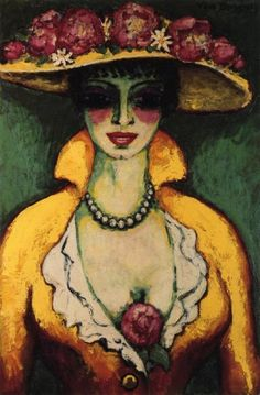 """Kees van Dongen """"Woman with Flowered Hat"""", 1918 (The Netherlands, Fauvism, cent. Wassily Kandinsky, Woman Painting, Figure Painting, Art Fauvisme, Karl Schmidt Rottluff, André Derain, Emil Nolde, Ernst Ludwig Kirchner, Raoul Dufy"""