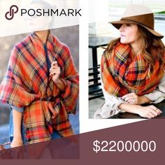 "💋15% OFF BUNDLES💋 TARTAN PLAID BLANKET SCARF Primary colors are camel, orange, and navy with a hint of mustard and cream. 100% acrylic. Soft and warm. 55"" x 55"". No trades. No modeling. Other colors available. Take a 👀❣️ Accessories Scarves & Wraps"