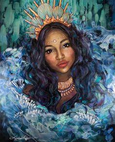 Goddess Of The Sea, Black Goddess, Goddess Art, Oshun Goddess, Divine Goddess, Black Girl Art, Black Women Art, Art Girl, Black Mermaid