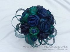 Blue and Turquoise Flax Wedding Bouquet