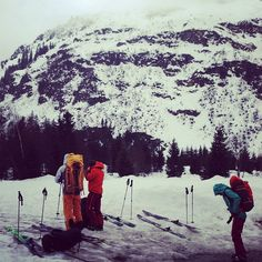 our film team heading out at the Arc'teryx backcountry ski camp