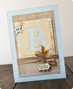 B-Baby-Card by Jess Mutty using the Hopscotch collection by Fancy Pants Designs.