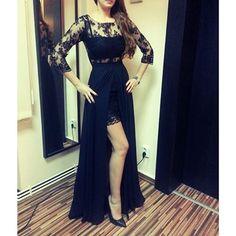 Elegant Prom Dress with Slit,Chiffon Evening Dress,Lace Evening