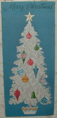 UNUSED - Silvered Christmas Tree on Turquoise Blue - 60's Vintage Greeting Card | eBay