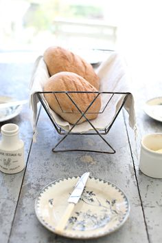 Dreamy Whites: A French Bread Recipe, An Antique French Dish Drying Rack, and French Farmhouse Antiques in the Kitchen French Dishes, Our Daily Bread, Fresh Bread, Bread Rolls, Bread Baking, E Design, French Antiques, Bread Recipes, Dinnerware