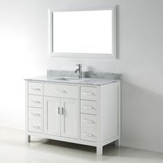 Chloe 48 Inch White Carrera Single Sink Vanity Set By S. Bathe