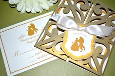 Fairy Tale Wedding Invitations - Beauty and the Beast, Gate Fold by klmCreative
