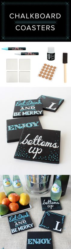 Craft these little DIY chalkboard coasters, and keep coming up with new designs to delight guests. Diy Projects To Try, Crafts To Make, Fun Crafts, Craft Projects, Craft Ideas, Tile Projects, Craft Gifts, Diy Gifts, Do It Yourself Inspiration
