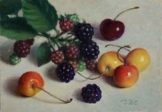 """Daily Paintworks - """"Cherries and Berries"""" - Original Fine Art for Sale - © Debra Becks Cooper Realistic Oil Painting, Oil Painting On Canvas, Oil Paintings, Painting Art, Canvas Board, Any Images, Fine Art Gallery, Art For Sale, Still Life"""