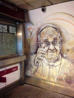 C215 - Roma Portrait of the Pope Francesco Stazione Piazza de Spagna