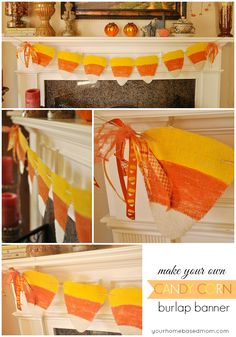 Candy Corn Burlap Banner - could use decorative paper or have the kids paint, maybe add glitter