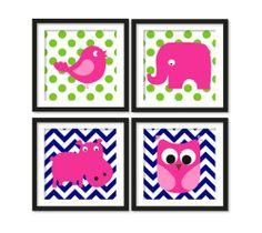Nursery art, hot pink elephant, hippo, owl, bird , on navy blue chevron and green polka dots, wall art ,(4 pieces)
