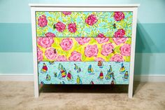 Hand painted Lilly Pulitzer inspired dresser