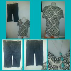 Spring relax style bundle Spring relax style bundle  Cute tee By: Old Navy Size: Small   Above knee cut off jeans, dark denim.  Size: 8L By: Essentials  Siver, torquiose necklace for a soft touch! Old Navy Tops
