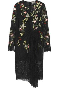 Black lace Concealed hook and zip fastening at back 100% nylon; lining: 100% silk Dry clean