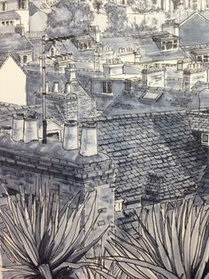 Detail from a pen and ink drawing of St Ives by artist, Alice Hole