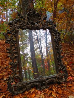 """""""Through the looking glass.Love this magical autumn mirror picture by my friend, Lisa Gill. She also designed my Minou Bazaar logo, so you know she's…"""" Magic Mirror, All Nature, Through The Looking Glass, Fantasy, Mirror Image, Mirror Mirror, Ornate Mirror, Mirror Ideas, Pics Art"""