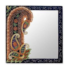 Handmade Paisley Wall Mirror from India - Precious Paisley Black Wall Mirror, Rustic Wall Mirrors, Contemporary Wall Mirrors, Round Wall Mirror, Decorative Mirrors, Modern Wall, Mirror Painting, Mirror Art, Mirror Ideas