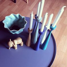 Blue, more blu and green Rolf™ original candle holders by freemover.se, designer Maria Lovisa Dahlberg, in smooth color mix with designed friends.