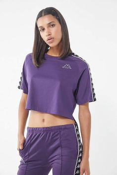 Kappa X UO Avant Cropped Tee Crop Tee, Kappa, Hand Embroidery, Outfit Of The Day, Urban Outfitters, High Low, Fitness Models, Short Sleeves, Tees
