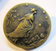 Antique Art Nouveau Button ~ Graceful Woman in Garden ~ Rare ~ Must See