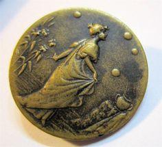 Antique Art Nouveau Button ~ Graceful Woman in Garden ~ Rare ~ Must See
