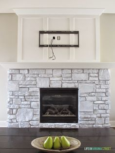 White-Washed Stone Fireplace using chalk based paint - what an ...