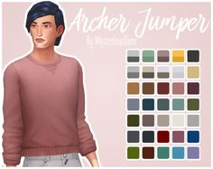 Archer JumperSooo I separated the top from that one Cats & Dogs full body outfit. My bab @stephanine-sims mentioned this idea and before she had a chance to make it herself, I did it for her! B^) • 9 original EA swatches + 18 swatches in @smubuh's...
