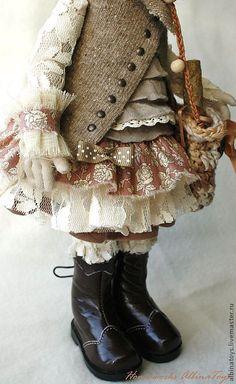 Купить Иделия. Коллекционная кукла в бежево-кофейных тонах. Бохо стиль - бежевый, коллекционная кукла
