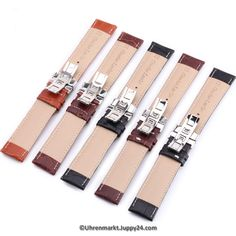 Lerderband mit Faltschließe in Edelstahl - Schwarz mit weißer Stepnaht Watches, Leather Cord, Stainless Steel, Black, Wristwatches, Clocks