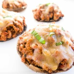 These turkey stuffed portobello mushrooms with marinara and cheese make an easy, healthy main dish. Naturally low carb and gluten-free.
