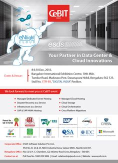 """We look forward to meet you at CeBIT India event, Stall No. STPI-88 """"DIGITAL INDIA"""" Pavilion on 8,9,10 Dec 2016."""