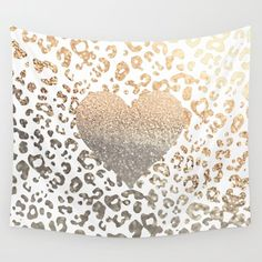 Wall Tapestry featuring GOLD HEART LEO by Monika Strigel
