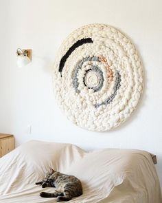 Large round circle weaving texture white and neutral woven wall hanging art bedroom decor Weaving Wall Hanging, Weaving Art, Tapestry Weaving, Loom Weaving, Hand Weaving, Hanging Art, Boho Wall Hanging, Wall Hangings, Julie Robert