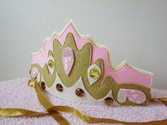Felt party crown Felt gold pink crown Sparkling por TheLittlePupa