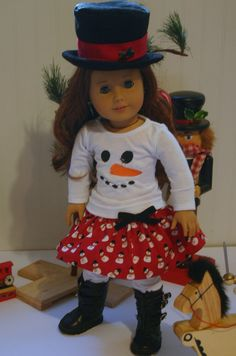 Snow Man outfit to fit your 18 inch american girl or similar doll. T-shirt, skirt, Leggings,top hat