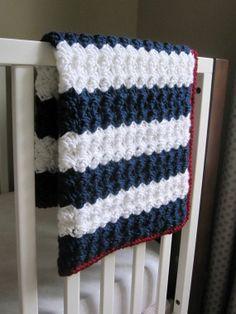 Chunky Nautical/ Preppy/ Americana Reversible Baby Blanket via Etsy