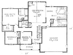 First Floor Plan of Country   House Plan 59803