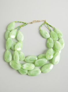 jade green triple strand stone necklace