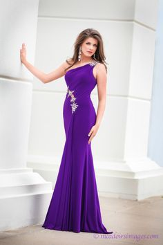 """""""This purple gown was purchased for Prom last year and I had a fantastic photo shoot a couple months later while wearing this gorgeous gown! I hope that I did your designs justice and I look forward to finding my next Tony Bowls gown for Miss Missouri OT 2014 and hopefully, MAOT 2014!!""""  Tony Girl Lauren from Missouri looks beautiful in her TONY BOWLS.  Love One Shoulder dresses? Check out TONY BOWLS EVENINGS Style No. TBE11400. http://tonybowls.com/evenings/evening-dresses/tbe11400/?fc=23"""