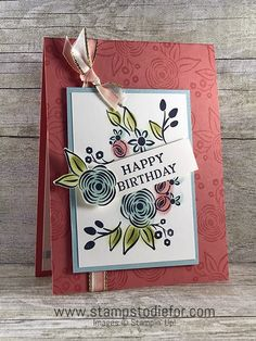 """Can you have too many sentiment stamps? I originally purchased the Perennial Birthday stamp set because I thought the sentiments were a good addition to my stamping collection. It has two different sizes of """"HAPPY BIRTHDAY"""", today's card features the..."""