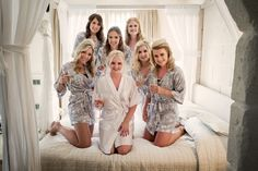 BRIDAL PARTY #Bridesmaids #GroupPic #Besties #DressingGowns #Matching   Bridesmaid Dressing Gowns- H&M Bride Dressing Gown- Pretty N Personal  Photo Credit- Jez Dickson Photography