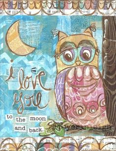 Inspirational Owl Art, I Love You to the Moon Quote, 8 x 10 Fine Art ...