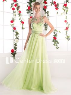 Sheath Scoop-Neck Sleeveless Chiffon Illusion Dress With Beading