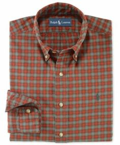 Polo Ralph Lauren Shirt, Classic-Fit Long-Sleeve Plaid Sueded Twill Shirt, - Designed with a rugged plaid pattern, this relaxed-fitting sport shirt is crafted from cotton twill and finished with a soft, suede-like feel.
