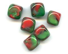 Vintage Red and Green Encased Glass Bead by PickleValentineBeads