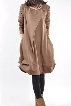 cotton pleated loose dress shirt In brown by MaLieb on Etsy, $69.00